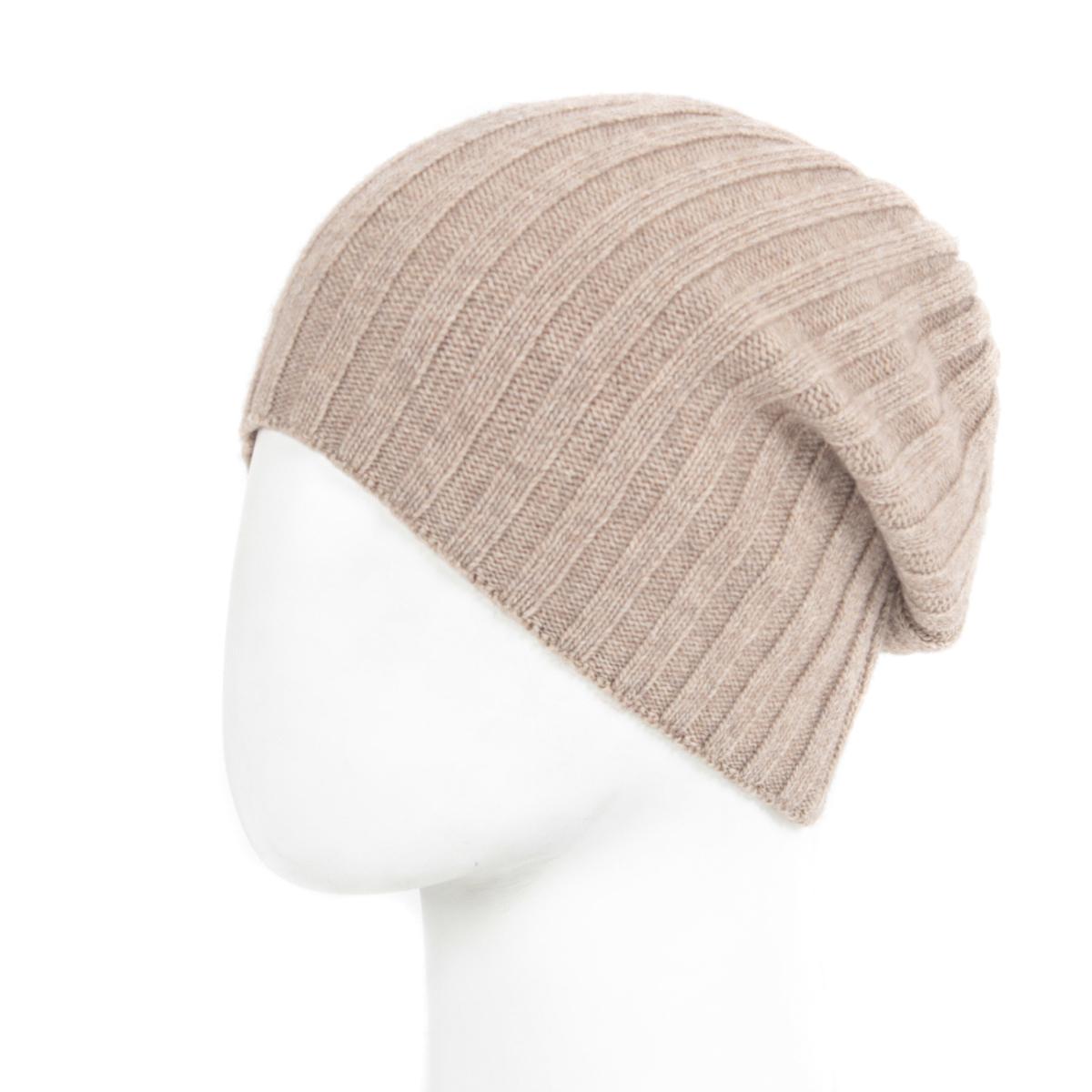 Вязаная женская шапка 106FJ светло-коричневая 99b7341190793