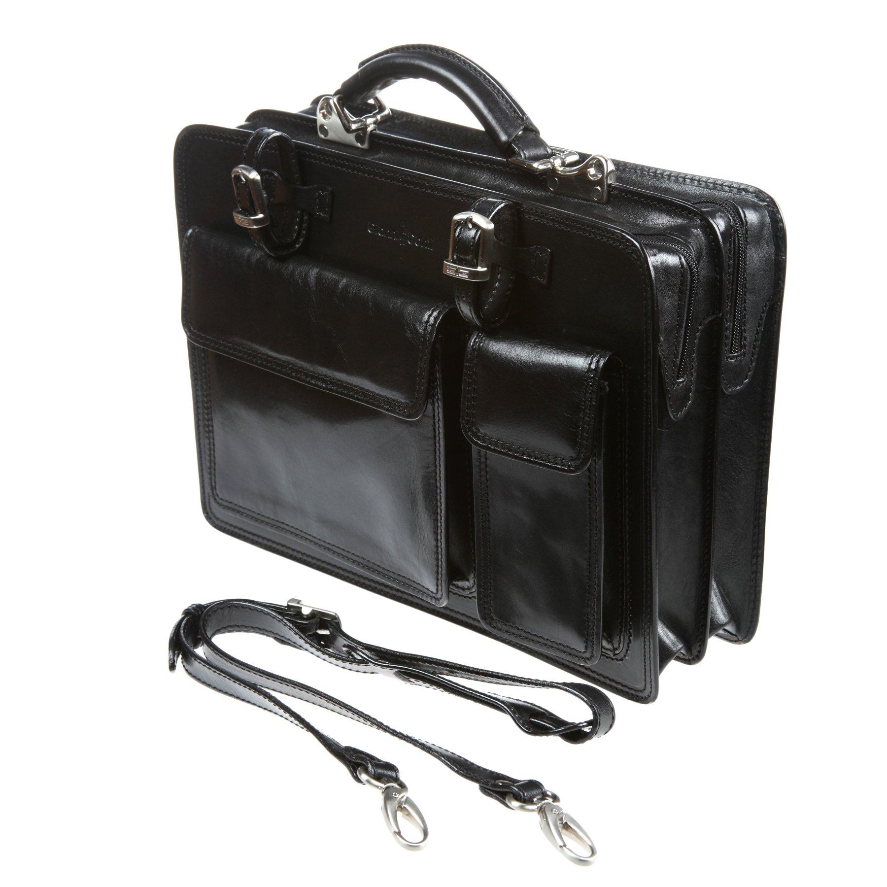 Портфель Gianni Conti 901010 black, 36x28 см, натуральная кожа, цвет чёрный — купить по цене 24 620 ₽ в интернет-магазине «Еврогалант»